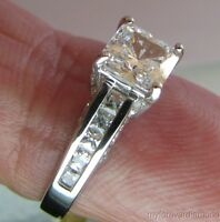 1.72 ct Princess cut Giamond Engagement ring 14K solid White gold size 4