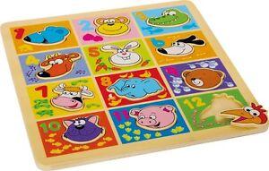 """Puzzle a incastro in legno """"Animali e numeri"""", cm 25x25"""