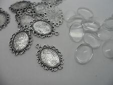 20 18x13mm Antique Silver Pendant Making kit 20 settings.30x20mm,& 20 Cabochons