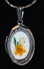 New Real Pressed Flowers Photo Locket Necklace Floral
