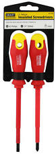 "NEW 2 piece Insulated 9"" Screwdriver Set #2 Phillips & 1/4"" Slotted Magnetic Tip"
