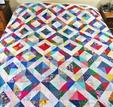 """Unfinished Colorful Patchwork Quilt Top 48""""x 72"""",Made from 5"""" Sqs"""
