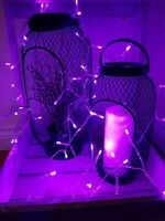 100 PURPLE LED LIGHTS FAIRY LIGHT UP CHRISTMAS DECORATION TREE WALL BATTERY