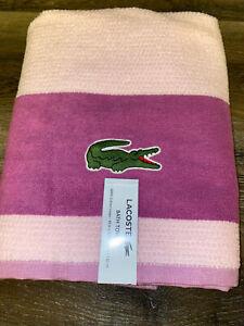 "Lacoste ~ Pink Purple Bath Towel 100% Cotton 30"" x 52"" Big Crocodile Logo"