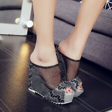 US8 Womens Embroidery Mesh Open Toe Slippers High Wedge Platform Heels Shoes