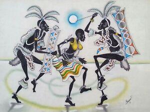 """Impressive original P. Mugerwa Nigeria painting """"Moonlight Dancing"""" 17×22.25"""""""