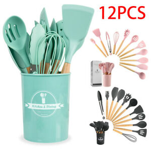 12Pcs Wooden Cooking Silicone Utensils Set  Kitchen Baking Cookware BPA