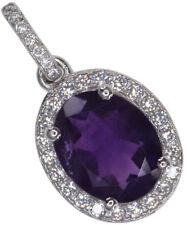 Amethyst Gemstone Oval Sparkling Sterling Silver Pendant + Chain