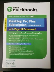 QuickBooks Desktop ProPlus 2021Windows 1yr Enhanced payroll*NEW*SEALED