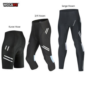 Herren Radhose Gepolstert 3/4 Shorts MTB Fahrradhose Atmungsaktive Reflektierend