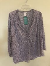 H&M Womens Blouse Top Blue Geometric Pattern Size    Xl