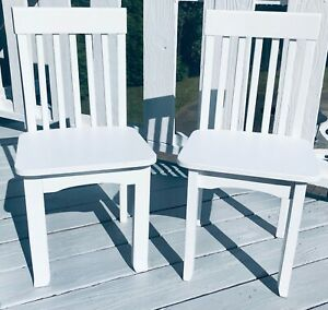 PAIR OF VINTAGE CHILD SIZE White WOODEN Vertical Wooden Slats on Back Very Nice
