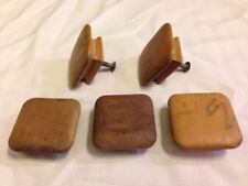 Lot of 5 Vintage Mid Century Square Solid Wood Cabinet Knobs Drawer Pulls 5.5cm