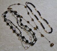 VINTAGE TO NOW ASSORTED BLACK GLASS STONE & PEARL BEADED NECKLACE LOT
