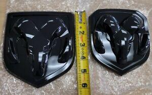 2013-2018 Black Glossy New Ram Head Badge Emblem Front & Back 1500 2500 3500