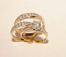 14k Yellow Gold Wedding Bands & Engagement ring Man's & ladies Trio Set His/Hers