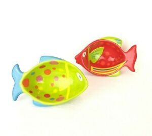 PIER 1 Imports Set of 2 Fish Ceramic Condiment Bowls Dish Painted Beach Summer