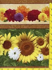 """Fall Glory Flowers w/ Sunflowers Stripes Quilting Fabric 24"""" Piece  #126c"""
