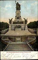 Rüdesheim Präge-AK 1907 National Denkmal Niederwald Statue Verl. Hilsdorf Bingen