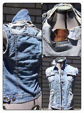 Levi's Destroyed Denim Vest Small Distressed Acid Wash Sleeveless Jean Jacket