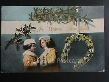 Greeting: A Happy New Year, Mistletoe, Holly & Lucky Horse Shoe, Old Postcard