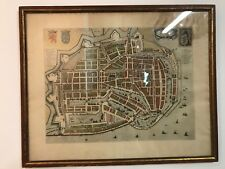 Antique Late 17thC Map Topographia Enchusae Enkhuizen Netherlands Johannes Blaeu