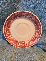 """Syracuse China, OLD IVORY MAYFAIR Restaurant Ware 5.5"""" Saucer Burgandy Rose Red"""