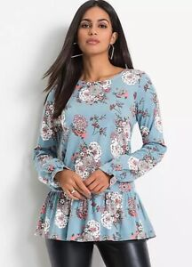 Bonprix Turquoise Floral Print Tunic - Size 14/16 - BNWT