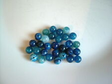 30pcs x 6mm Blue Striped Agate Round Beads