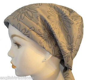 Gray Floral 100% Cotton Cancer Hat Turban Chemo Head Wrap Bad Hair Day Scarf