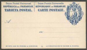 AOP Paraguay 1882 3c blue on white postal card mint HG 1