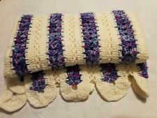 "Vintage Colorful purple and blue stripe Afghan Hand Crocheted Blanket  36"" X 58"""