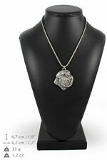 Bouvier des Flandres - silver covered necklace with silver chain, Art Dog