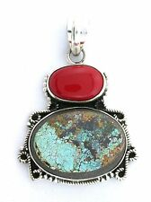 Sterling Silver Persian Turquoise Pyrite Back Red Coral Cabochon Cab Gem Pendant