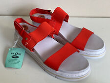 NEW! DR. SCHOLL'S BEAM QUARTER RED STRAP WHITE SANDALS SHOES 7.5 37.5 $60 SALE