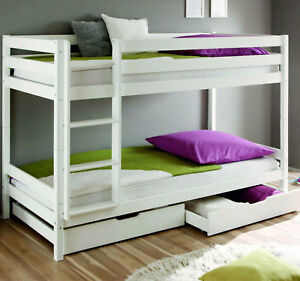 Etagenbett Weiss Hochbett Schublade Massiv Stockbett 90 x 200 cm Bett Kinderbett