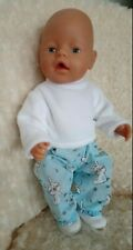 """BJB Doll clothes, Blue cute trouser bunny outfit 3pcs Fit 17"""" Baby Born doll"""
