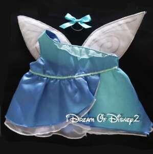 Build-A-Bear SILVERMIST DISNEY FAIRY ONE-SHOULDER BLUE DRESS WINGS Teddy Costume