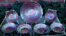 "FENTON""ANTIQUE~c1910""CARNIVAL GLASS""FEATHERED SCROLL""PURPLE 7pc""BERRY SET~XLNT"