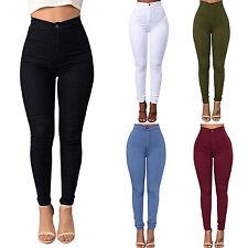 Women High Waist Elastic Stretch Skinny Denim Jeans Jegging Legging Pencil Pants