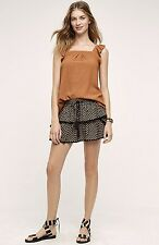 NWT Anthropologie black Printed Tiered Ruffle Skort Skirt Short by Flannel 2 / M