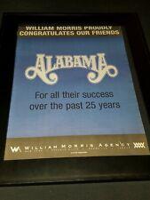 Alabama 25th Anniversary William Morris  Rare Radio Promo Poster Ad Framed!