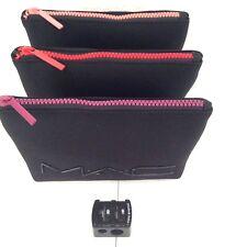 SET OF 3 MAC NEOPRENE MAKEUP COSMETIC BAGS & FREE DUAL LIP PENCIL SHARPENER GIFT