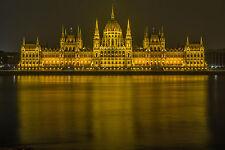 "Parliament Building Budapest Hungary Danube River Night -17""x22"" Art Print-00037"