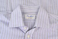 Ben Silver Blue Brown Striped Spread Collar Cotton Dress Shirt Sz 16.5/34