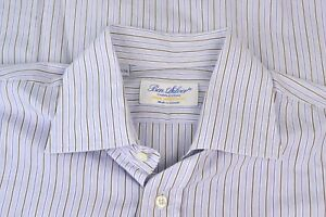 Ben Silver Blue Brown Striped Spread Collar Cotton Dress Shirt Sz 16.5/34