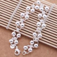 """925 Sterling Silver Women Wide Beaded 6 1/2"""" Chain Bangle Bracelet +GiftPk D295"""