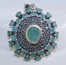 VINTAGE STYLE! Genuine 3.34cts Emerald & Marcasite Pendant Sterling Silver 925!