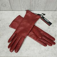 Fownes Womens Size 7 Genuine Leather Gloves Dark Red Burgundy Cashmere Lined NWT