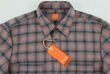 Men's HUGO BOSS ORANGE Pink Gray Flannel Plaid Shirt Small S NWT NEW CalifoE